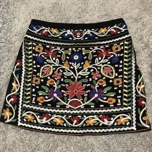 Black floral embroidered skirt